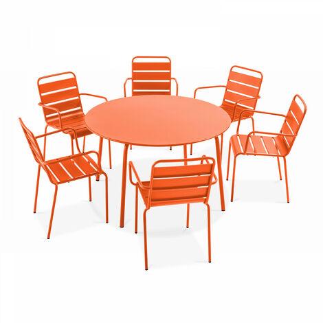 Table de jardin ronde et 6 fauteuils en acier, Palavas Palavas - Orange