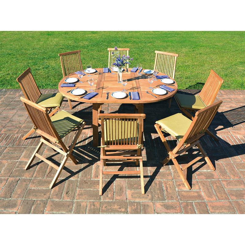 Table de jardin ronde et extensible en bois teck - Dim : 120/170 x 120 cm