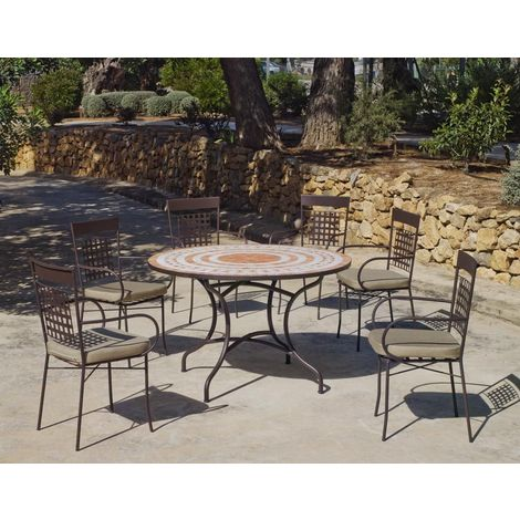 Table de jardin ronde et fauteuils Lorny Vigo 4 fauteuils