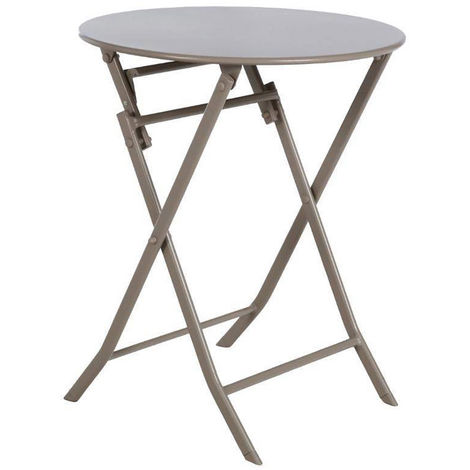 Table de jardin ronde Greensboro Ø 60 cm Taupe