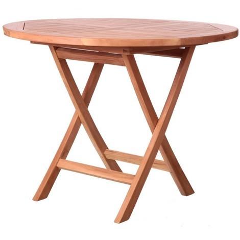 Table de jardin ronde pliante en teck 100cm KENITA - L 100 x l 100 x 78.5
