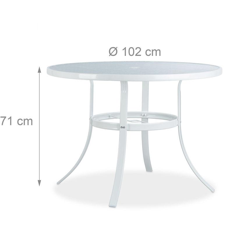 Table de Jardin ronde Verre STRUK Trou Parasol Table de Bistrot 102cm  Balcon Jardin 4 Places Anti-Pluie Blanc