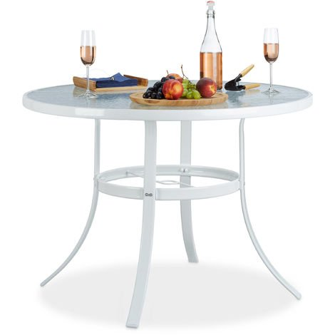 Table de Jardin ronde Verre STRUK Trou Parasol Table de ...