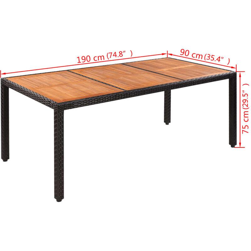 Table En Bois De Jardin.Table De Jardin Rotin Dessus De Table Bois D Acacia 190x90x75cm