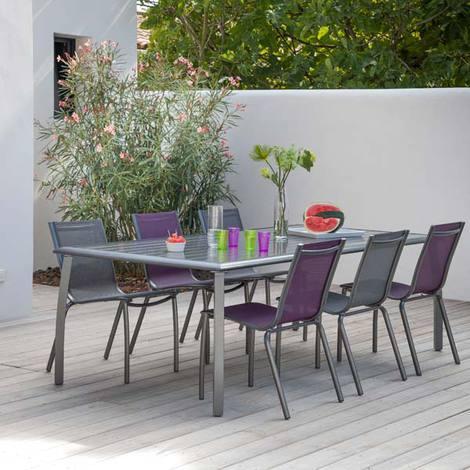 Table de jardin Tout Alu effet Lattes 225x100 Royal Grey AZURO - Proloisirs