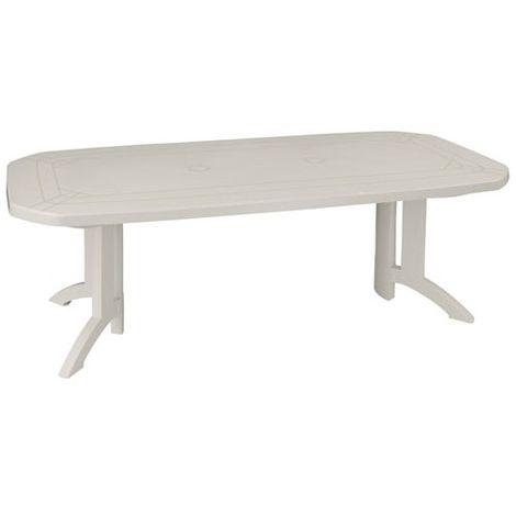 Table de jardin Vega - 165/220x100 cm - blanc -