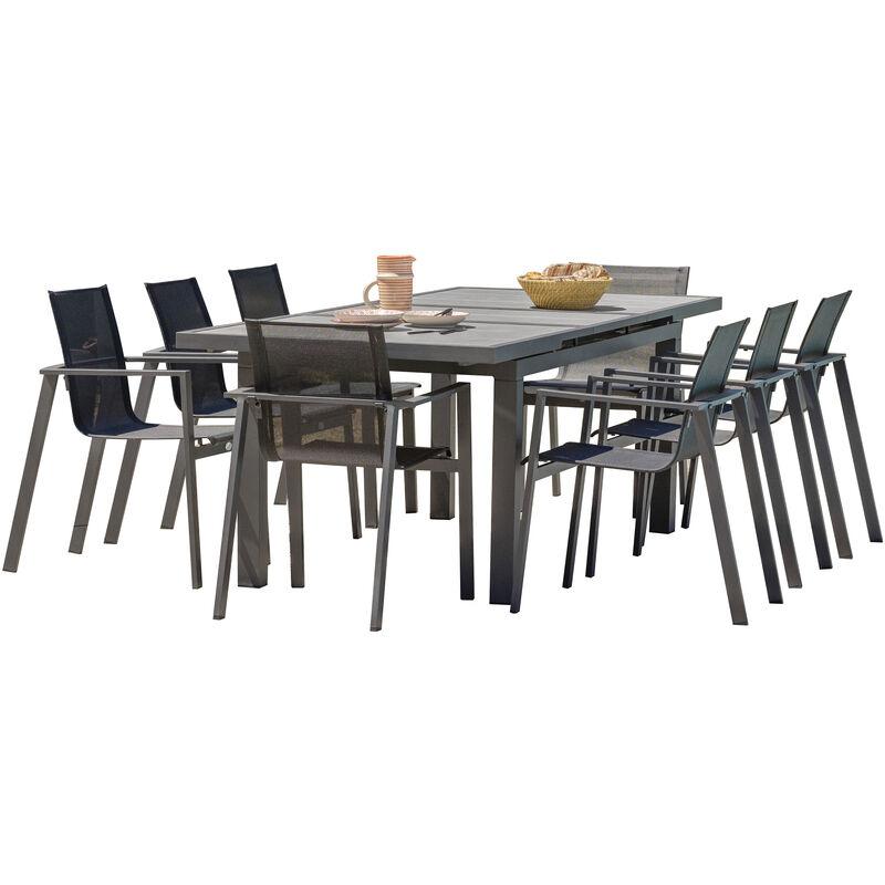 Dcb Garden - Table de jardin VENISE 190/250X95 cm avec rallonge automatique, en ce_ramique et aluminium - GRIS ANTHRACITE