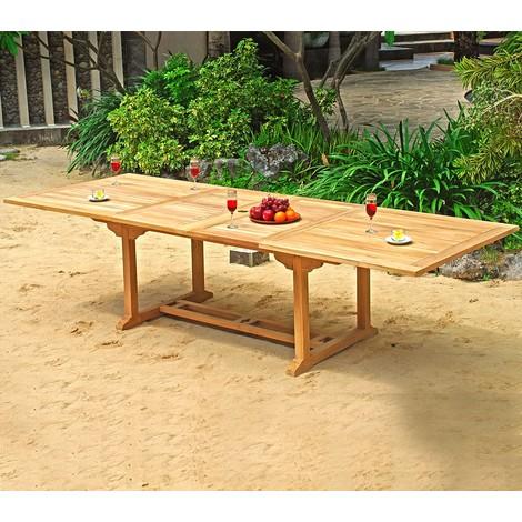 Table de jardin XXL en teck brut - double rallonge papillon 200-300 cm