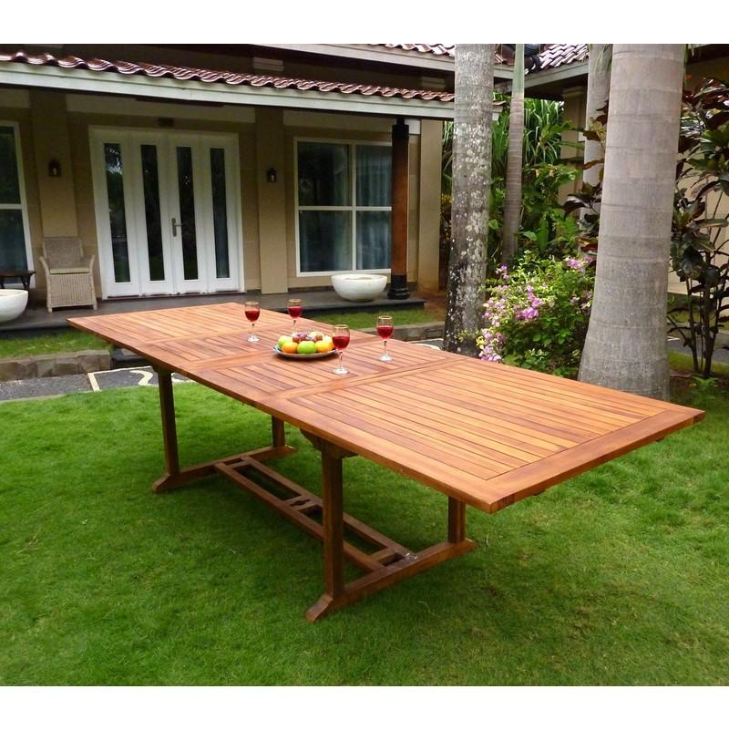 Table de jardin XXL en teck huilé - double rallonge papillon 200-300 cm