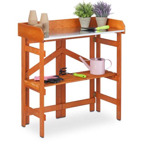 Table de jardinage en bois, métal, résistant aux intempéries, pliante, jardin, HLP 86 x 81 x 40 cm, marron