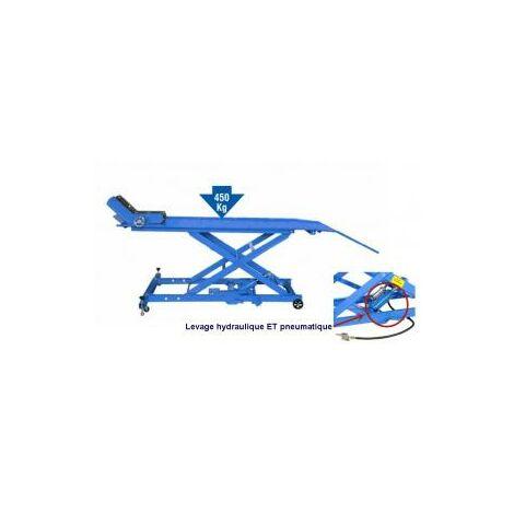 Table de levage extra longue (220+55cm) pour motos - maxi 450kg
