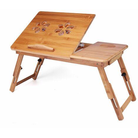 Table de lit pour ordinateur Tablette Liseuse en bambou Pliable 55*30*30cm