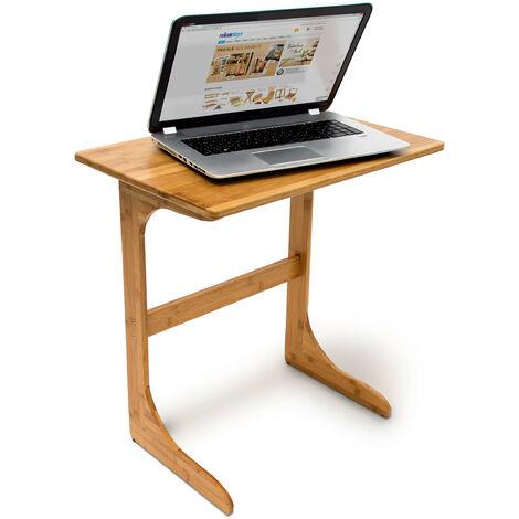 Table de lit table d'appoint pour ordinateur portable HxlxP : 62,5 x 60 x 40 cm en bambou pour bout de canapé, nature