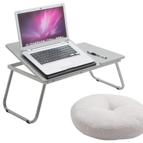 Table de lit VIRGINIA support réhaussé avec tablette inclinable pour ordinateur portable, décor gris