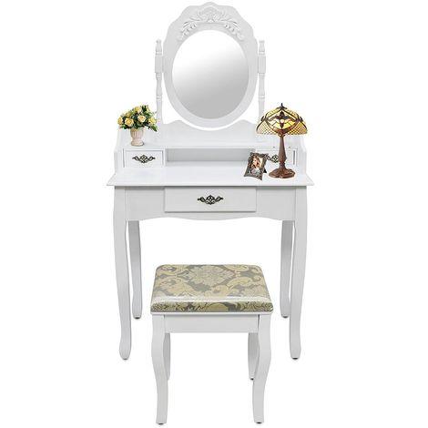 Table de Maquillage, Coiffeuse, Blanc, 3 tiroirs, miroir oval cadré, Matériau: MDF, Bois de Paulownia