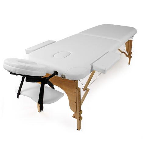 Table De Massage 2 Zone Couleur Blanche Pliable Accoudoirs Chaise