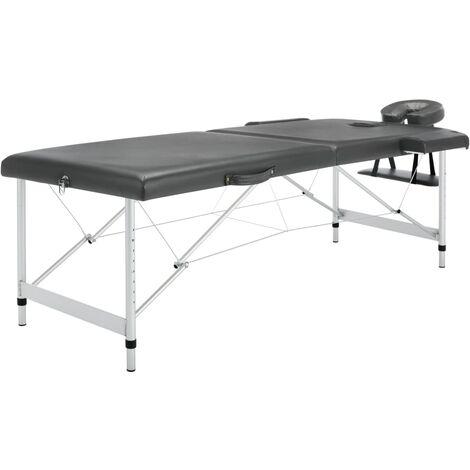 Table de massage 2 zones Cadre en aluminium Anthracite 186x68cm