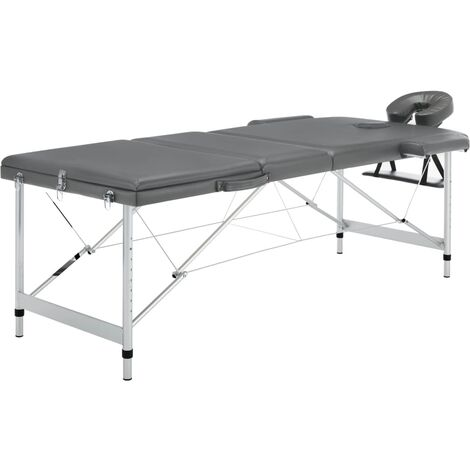 Table de massage 3 zones Cadre en aluminium Anthracite 186x68cm