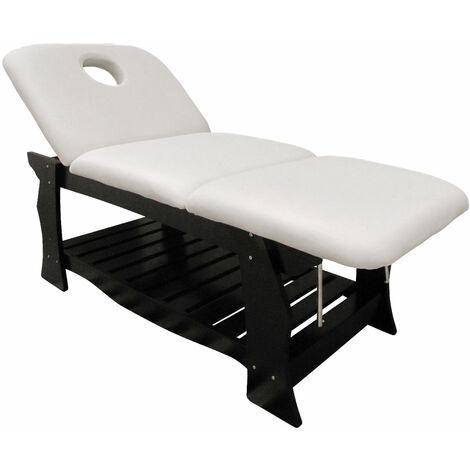 Table de Massage fixe de eyepower | 3 Zones professionnel 190x70cm | lit cosmetique avec dossier et repose-pieds inclinables | repose tête ou trou pour le visage | poids max supporté 250Kg | en bois de chêne avec rembourrage | différentes couleurs