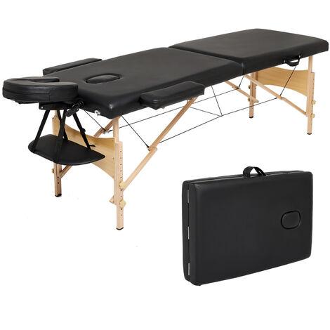 Table de massage mobile pliable Table de massage portable légère Table de massage 3/2 zones avec pieds en bois réglables en hauteur Noir/blanc/beige