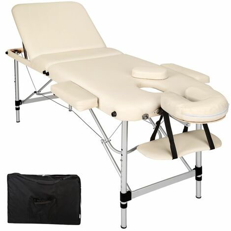 Table de massage Pliante 3 Zones Aluminium Portable + Housse beige - Beige
