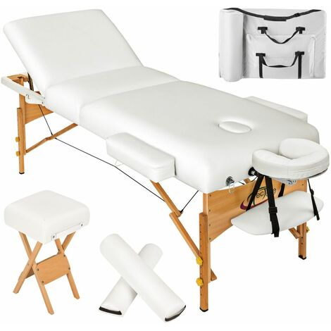 Table de massage Pliante 3 Zones, Tabouret, Rouleau + Housse blanc - Blanc