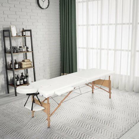 """main image of """"Table de Massage Professionnel Mobile Lit de Massage Pliable Portable Légère 2 zones avec Pieds en Bois Hauteur Réglables,Blanc - Meerveil"""""""