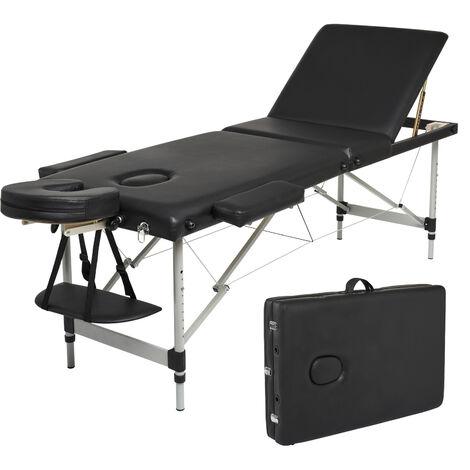 """main image of """"Table de Massage Professionnel Mobile Lit de Massage Pliable Portable Légère 3 zones avec Pieds en Aluminium Hauteur Réglables,Blanc - Meerveil"""""""