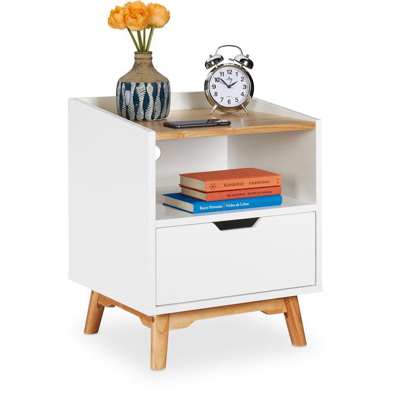 Table De Nuit Blanche Table De Chevet Table Lit Commode Console Tiroir Pieds Scandinave 50x43x40 Cm Blanc