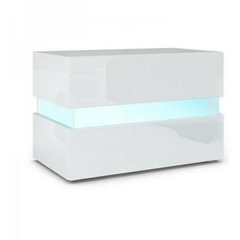 Table de nuit chevet Avec led intégré blanc brillant Tresice france