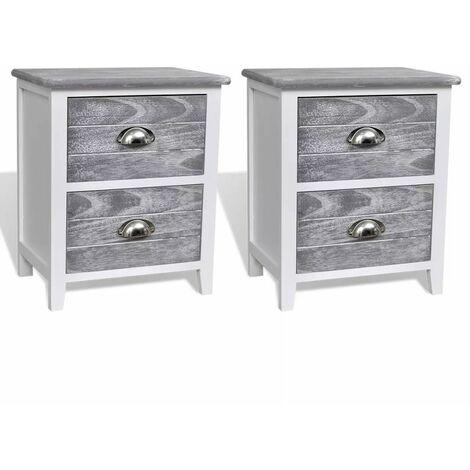 Table de nuit chevet commode armoire meuble chambre 2 pcs avec 2 tiroirs gris et blanc - Blanc