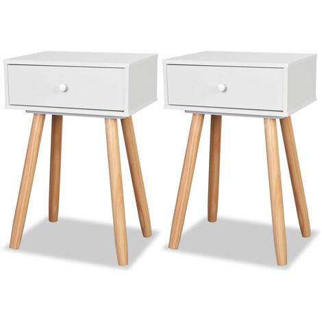 Table de nuit chevet commode armoire meuble chambre 2 pcs bois de pin massif 40 x 30 x 61 cm blanc - Bois
