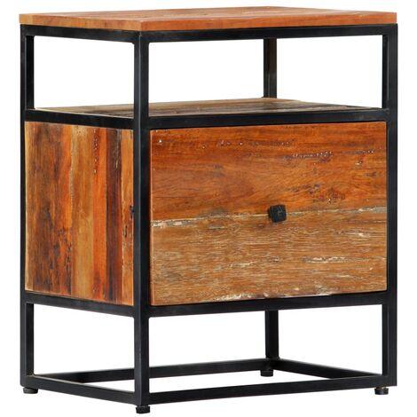 Table de nuit chevet commode armoire meuble chambre 40 x 30 x 50 cm bois de récupération et acier - Bois