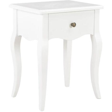 Table de nuit chevet commode armoire meuble chambre blanc 40 x 30 x 50 cm bois de pin massif - Bois