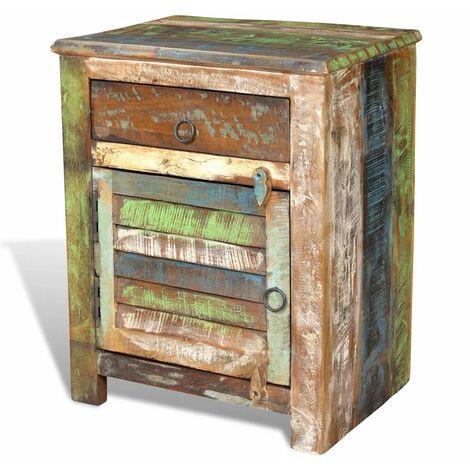 Table de nuit chevet commode armoire meuble chambre de coin avec 1 tiroir et 1 porte bois de récupération - Bois