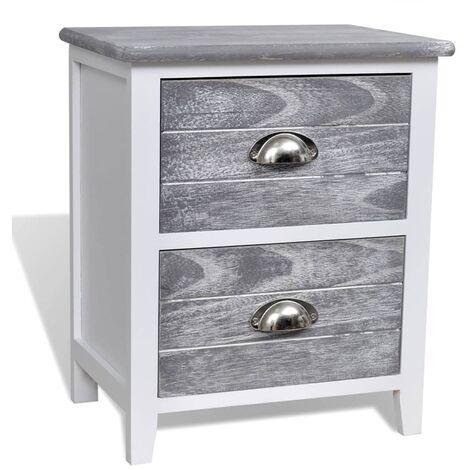 Table de nuit chevet commode armoire meuble chambre gris et blanc 38x28x45 cm bois de paulownia - Bois