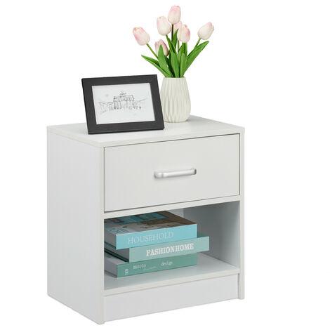 Table de nuit, tiroir, compartiment ouvert, HLP 41,5 x 39 x 31 cm, meuble d'appoint, chambre à coucher, blanc