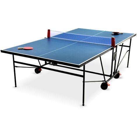 Table de ping pong INDOOR bleue - table pliable avec 2 raquettes et 3 balles, pour utilisation intérieure, sport tennis de table