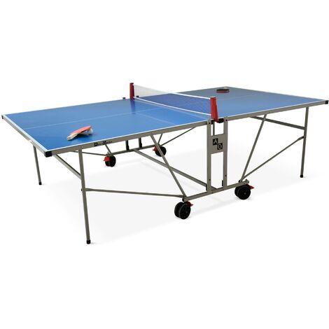 Table de ping pong OUTDOOR bleue - table pliable avec 2 raquettes et 3 balles, pour utilisation extérieure, sport tennis de table