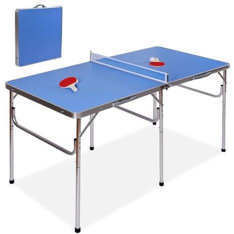 Table de Ping-pong Pliable Table de Tennis Portable avec 2 Raquettes et 2 Balle Bleu