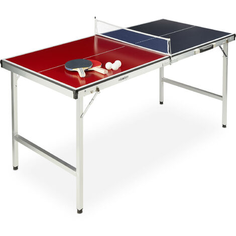 Table de ping-pong pliante, portable, Filet, 2 raquettes, 3 balles, Alu, MDF, 67,5 x 151 x 67,5 cm, bleu/rouge