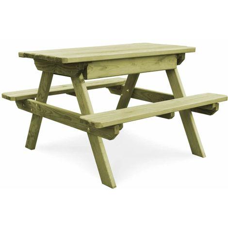 Table de pique-nique avec bancs Bois de pin imprégné FSC ...