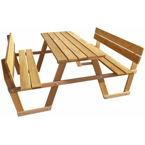 vidaXL Table de Pique-nique Bambou avec 2 Bancs Intégrés Table de ...