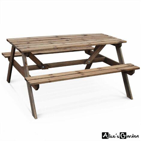 Table de pique nique en bois 150cm - PADANO - Table de jardin rectangulaire avec bancs en pin FSC