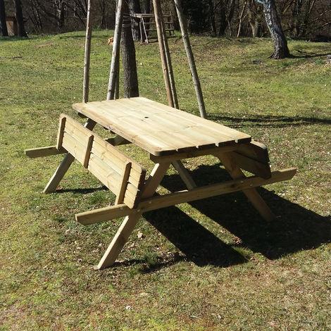 Table de pique-nique en bois pour jardin, de 180 x 165 x 72 cm, avec bancs pliables intégrés