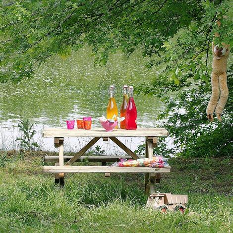 Table de pique-nique en bois très solide pour enfant - Chinchilla
