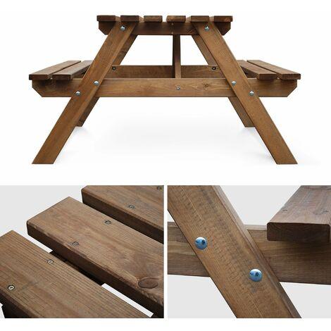 Table de pique nique Padano 150cm rectangulaire avec bancs, salon de jardin  en bois