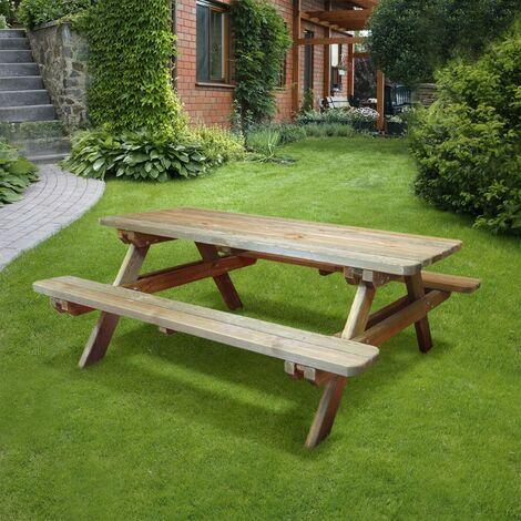 Table De Pique Nique Rectangulaire En Bois 46 Places Rambouillet