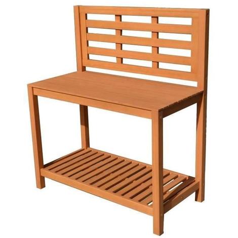 Table de plantation étagere pour jardin en acacia bois FSC - 103x51,5x120cm