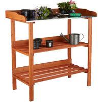 Table de préparation pour semis en bois avec plan de travail en métal 3 étages potager serre HxlxP: 87,5 x 91,8 x 41,5 cm, orange